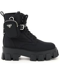 Prada Monolith Boots With Pouch - Black