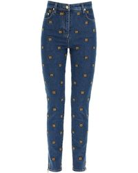 Moschino All-over Teddy Bear Embroidered Denim Jeans - Blue