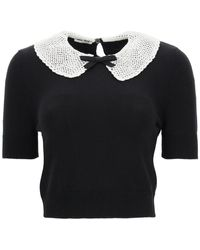 Miu Miu Sweater With Crochet Collar - Black