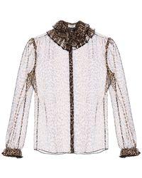 Saint Laurent Leopard Print Silk Shirt - Black