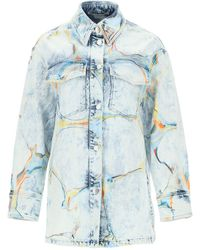 Stella McCartney Denim Shirt-jacket With Marbled Print - Blue
