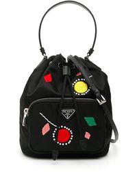 Prada Dadelion Embroidery Mini Bucket Bag - Black