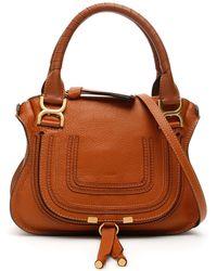 Chloé Marcie Crossbody Bag Grained Calfskin Tan - Brown