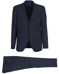 Etro Single-breasted Wool Suit With Paisley Detail On The Pockets - Blue