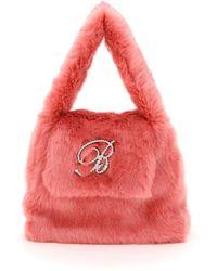 Blumarine B Strass Faux Fur Bag - Red