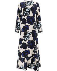 Marni Satin Dress Roma Print - Blue