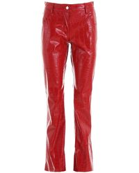 MSGM Croc-print Faux Leather Trousers - Red