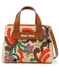 Miu Miu Raffia Embroidered Handbag - Multicolor