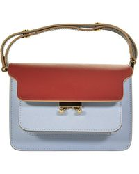 Marni Small Trunk Bag In Saffiano Calfskin Red And Light Blue
