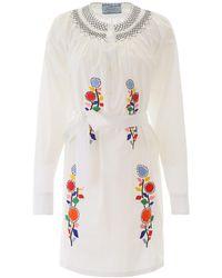 Prada Embroidered Dress - White