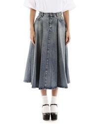 Miu Miu Denim Midi Skirt - Gray