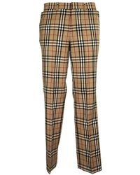 Burberry Vintage Check Tailored Pants Flap Trs Arc.beige - Natural