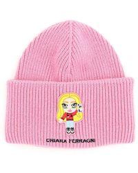 Chiara Ferragni Logo Patch Ribbed-knit Beanie - Pink