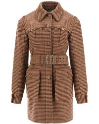 Chloé Houndstooth Wool Coat - Brown