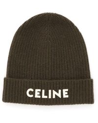 Celine Logo Beanie Hat - Green