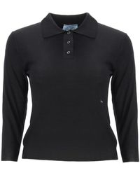 Prada Wool Polo Shirt With Logo 38 Wool - Black
