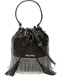 Miu Miu Crystal Fringe Bucket Bag - Black
