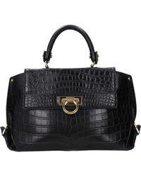 Ferragamo Handbags Sofia Women Black