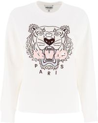 KENZO Sweatshirt With Tiger Embroidery - White
