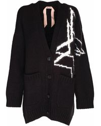 N°21 N21 Cardigan With Double Stars Inlay - Black