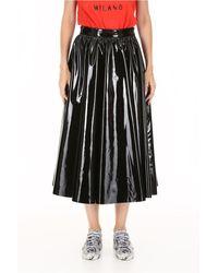 MSGM Vinyl Pleated Midi Skirt - Black