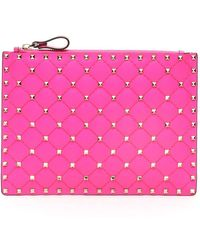 Valentino Garavani Rockstud Clutch Bag - Pink