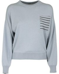 Brunello Cucinelli Crewneck Sweater Cashmere Sweater With Monili - Grey