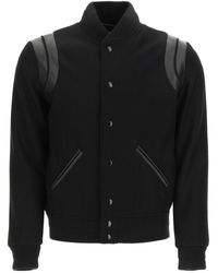 Saint Laurent Teddy Bomber In Wool And Leather - Black