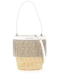Miu Miu Crystal Fringe Bucket Bag - Natural