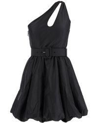 Self-Portrait One-shoulder Belted Dress - Black