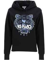 KENZO Hoodie With Tiger Embroidery - Blue
