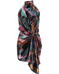 The Attico Sequin Embellished Draped Mini Dress - Black