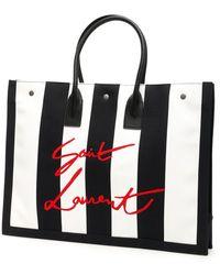 Saint Laurent Noe Cabas Stripe Bag - Black