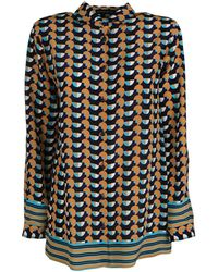 Etro Silk Shirt With Geometric Stripes And Polka Dots