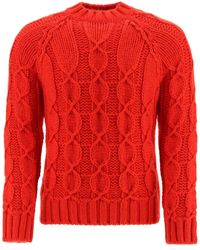 Saint Laurent Mohair Wool Cable-knit Sweater - Red