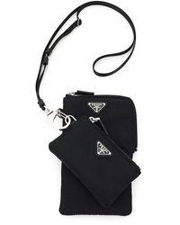 Prada Trick Phone Holder With Neck Strap - Black