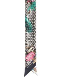 Ferragamo Bandeau In Silk With Foliage And Gancini Print - Multicolour