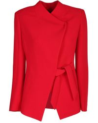 Emporio Armani Wallet Jacket In Techno Crepe With Bow - Red