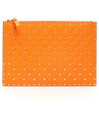 Valentino Garavani Neon Spike Clutch - Orange