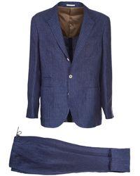 Brunello Cucinelli Pinstripe Linen Suit - Blue
