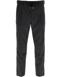 Dolce & Gabbana Pinstriped Wool jogging Pants - Multicolour
