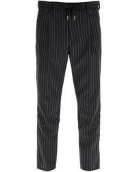 Dolce & Gabbana Pinstriped Wool JOGGING Trousers 48 Wool - Grey