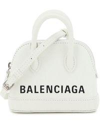 Balenciaga Ville Mini Micro Bag Logo - White