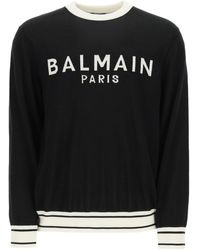 Balmain Logo Intarsia Wool Jumper - Black