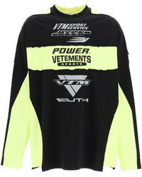 Vetements Motocross Patched Logo Oversized Ls T-shirt M Cotton - Black