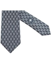 Gucci - Black Silk Tie With Ivory Double Gg Chains Pattern - Lyst