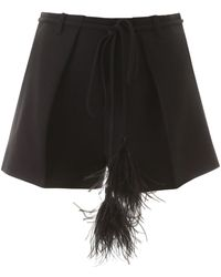 Valentino Couture Feather Tassel Shorts - Black
