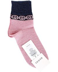 Gucci Pink And Blue Lamé Socks With Chain Print And Gg Logo