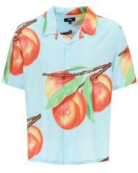 Stussy Hawaii Shirt With Peach Print - Blue
