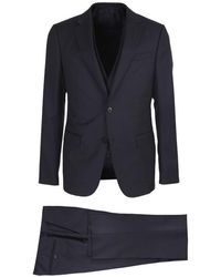 Z Zegna Single-breasted Suit In Blue Wool
